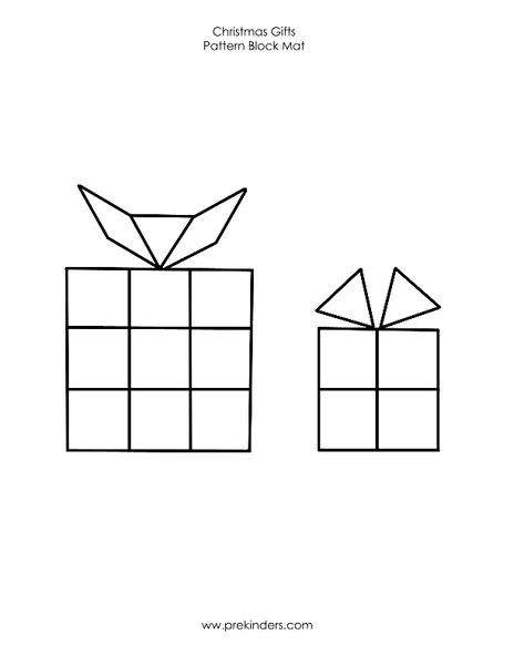 Christmas Gifts Pattern Block Mat Worksheet For Pre K
