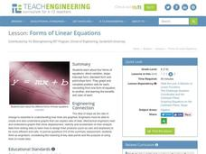 Forms of Linear Equations Lesson Plan