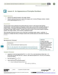 An Appearance of Complex Numbers 1 Lesson Plan