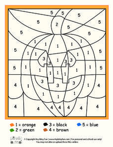 Halloween Color By Numbers Worksheet