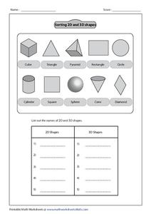Sorting 2-D and 3-D Shapes Worksheet