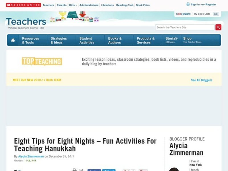 Eight Tips for Eight Nights: Fun Activities For Teaching Hanukkah Activities & Project