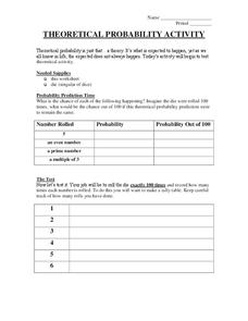 Theoretical Probability Activity Worksheet