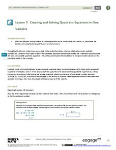 Creating and Solving Quadratic Equations in One Variable Lesson Plan