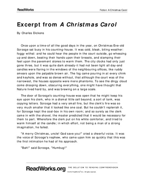 Excerpt From A Christmas Carol Worksheet For 6th Grade