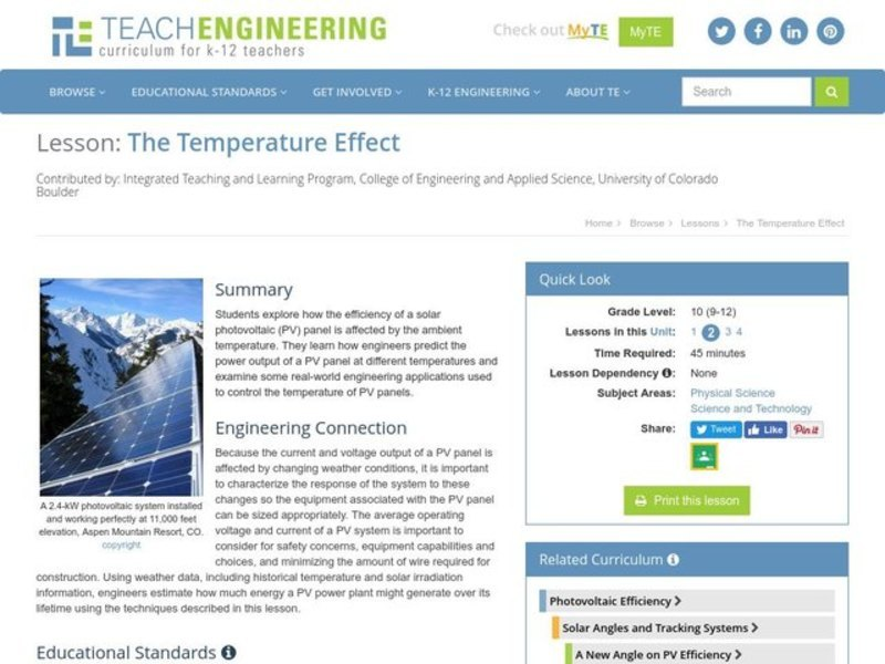 The Temperature Effect Handouts & Reference