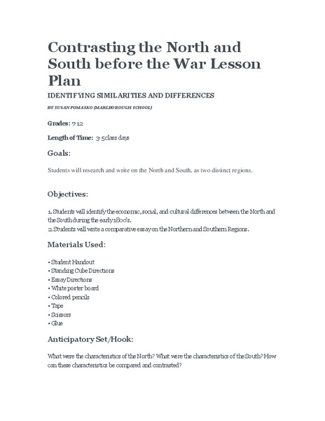 Contrasting the North and South before the War Lesson Plan
