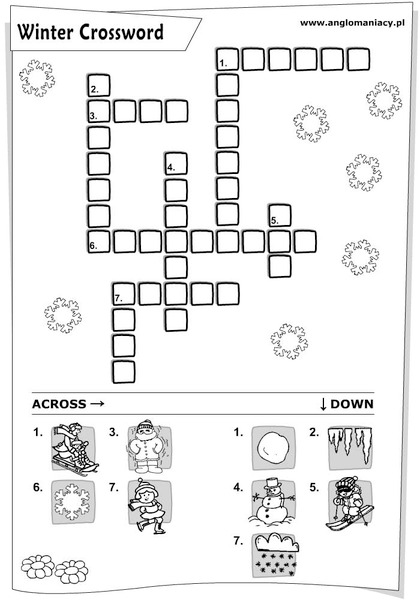 winter crossword with pictures worksheet for kindergarten 3rd grade lesson planet. Black Bedroom Furniture Sets. Home Design Ideas