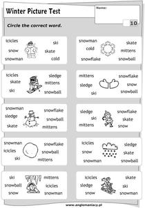 Winter Picture Test: Circle the Word Assessment