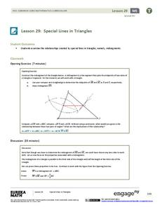 Special Lines in Triangles (part 1) Lesson Plan