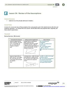Review of the Assumptions (part 2) Lesson Plan
