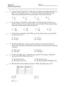 Algebra 1 Practice Final Worksheet