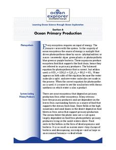 Ocean Primary Production Lesson Plan