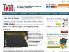 New Year's Resolution Classroom Activity Lesson Plan
