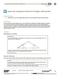 Congruence Criteria For Triangles Asa And Sss Lesson Plan For 9th 10th Grade Lesson Planet