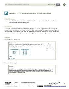 Correspondence and Transformations Lesson Plan
