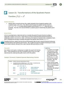 Transformations of the Quadratic Parent Function Lesson Plan
