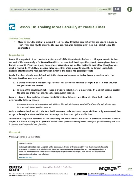 Looking More Carefully at Parallel Lines Lesson Plan