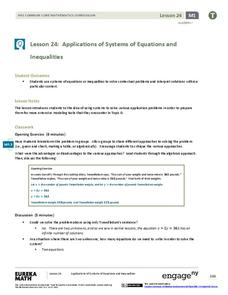 Applications of Systems of Equations and Inequalities Lesson Plan