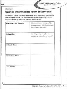 Gather Information From Interviews Worksheet