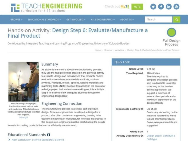 Design Step 6: Evaluate/Manufacture a Final Product Lesson Plan