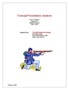 The Red Badge of Courage: Concept/Vocabulary Analysis Handouts & Reference