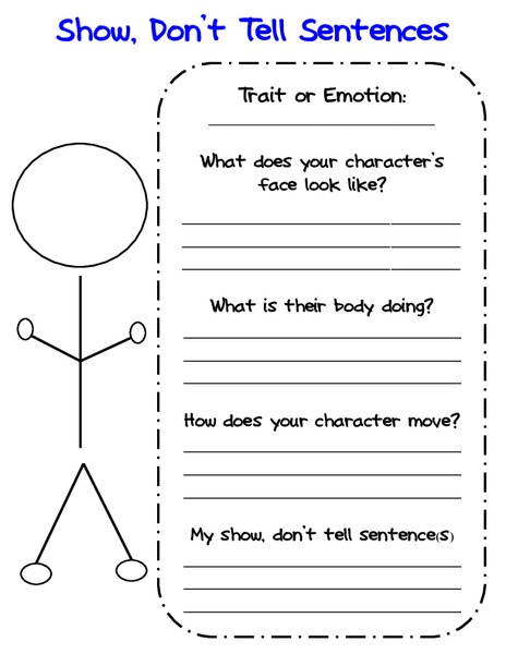 Show, Don't Tell Sentences Graphic Organizer