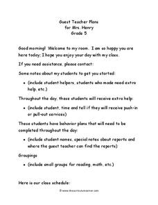 Guest Teacher Plans Grade 5 Lesson Plan