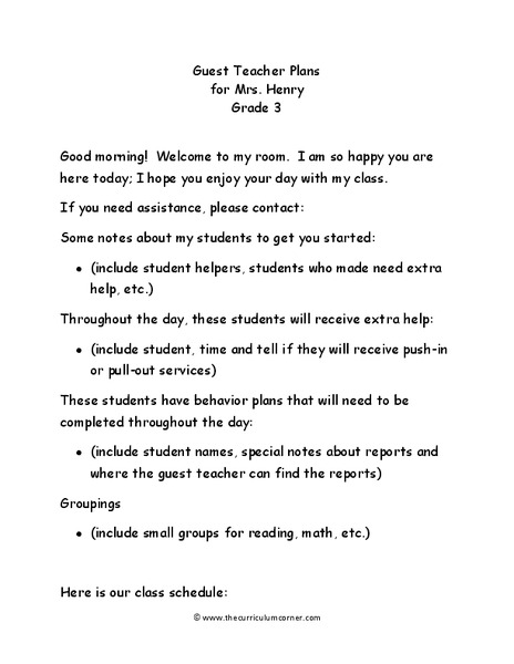 Guest Teacher Plans: Grade 3 Lesson Plan