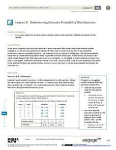 Determining Discrete Probability Distributions 1 Lesson Plan