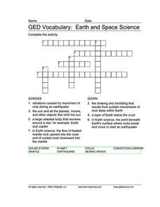 ged vocabulary earth and space science worksheet for 7th 9th grade lesson planet. Black Bedroom Furniture Sets. Home Design Ideas