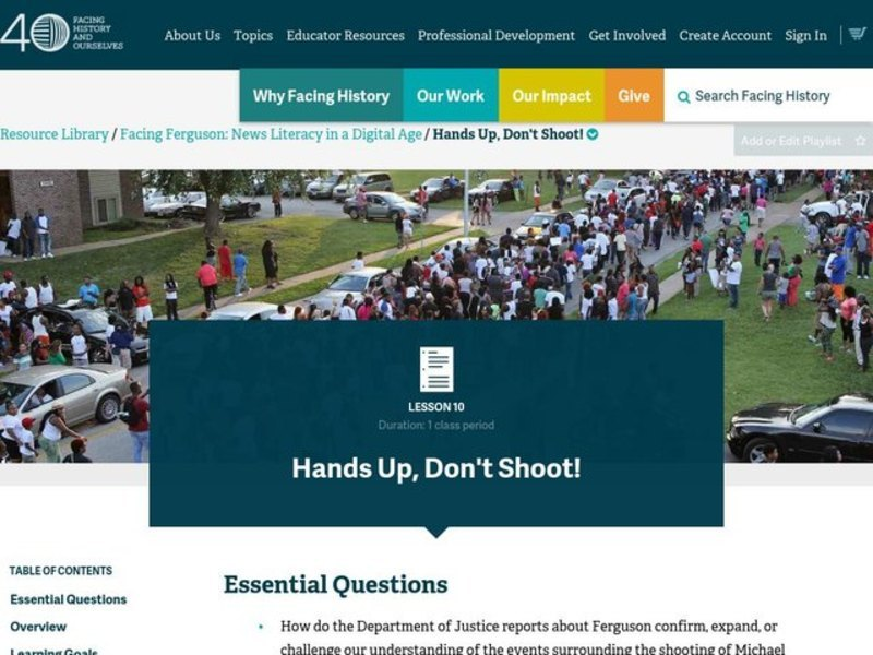 Hands Up, Don't Shoot! Lesson Plan