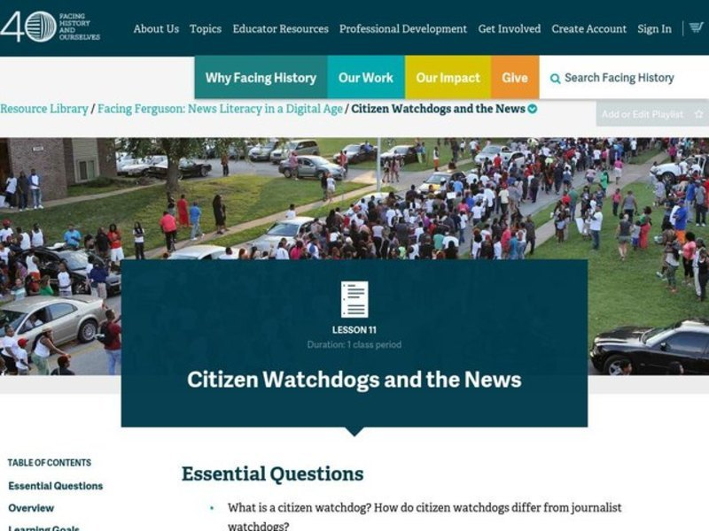 Citizen Watchdogs and the News Lesson Plan