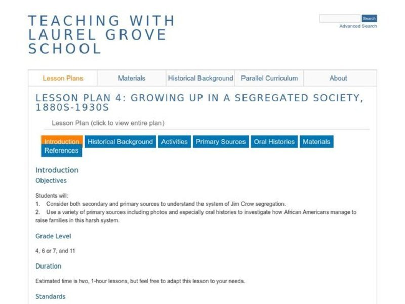 Growing Up in a Segregated Society, 1880s–1930s Lesson Plan