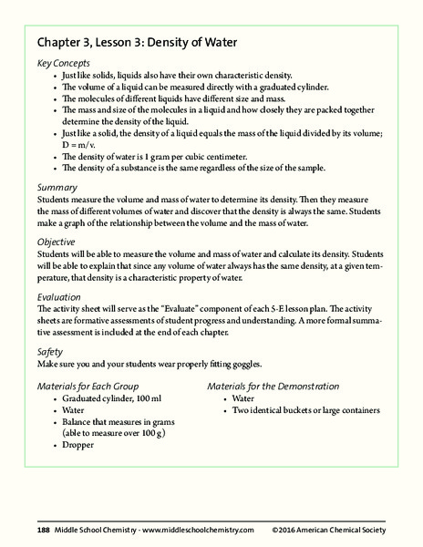 Density Of Water Lesson Plan Density Of Water Lesson Plan