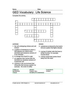 GED Vocabulary: Life Science Worksheet