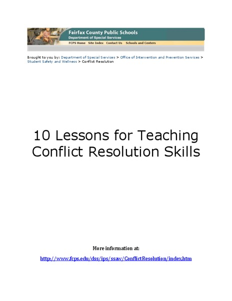 10 Lessons for Teaching Conflict Resolution Skills Unit