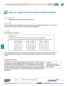 Graphs of Linear Functions and Rate of Change Lesson Plan