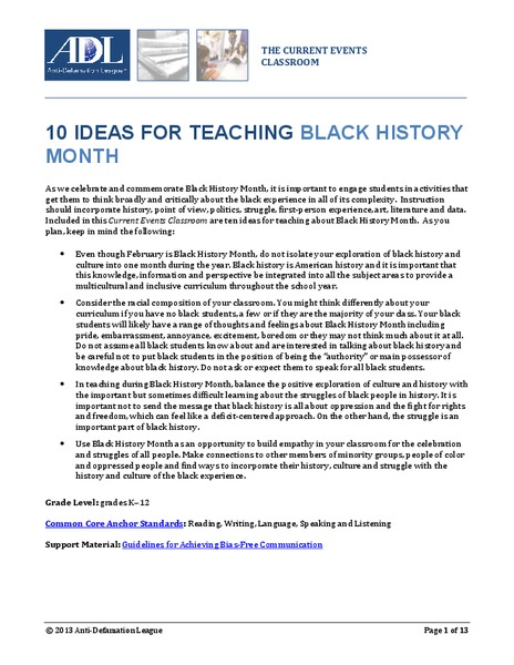 10 Ideas for Teaching Black History Month Lesson Plan
