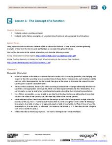 The Concept of a Function Lesson Plan