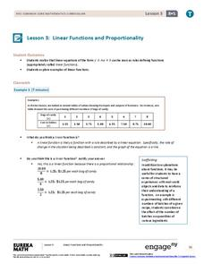 Linear Functions and Proportionality Lesson Plan