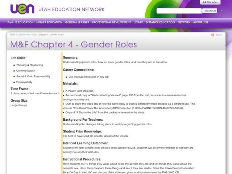 Gender Roles Lesson Plan for 9th - 12th Grade   Lesson Planet