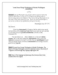 Letter from George Washington to Martha Washington Worksheet