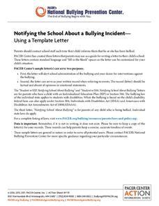Notifying the School About a Bullying Incident—Using a Template Letter Printables & Template