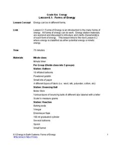 Forms of Energy Lesson Plan for 6th Grade   Lesson Planet