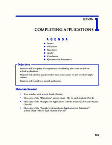 Completing Applications Lesson Plan