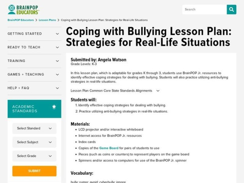 Coping with Bullying Lesson Plan: Strategies for Real-Life Situations Lesson Plan