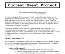 Current Event Project Activities & Project