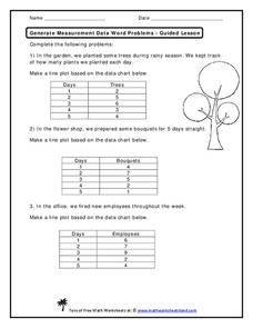 Generate Measurement Data Word Problems Worksheet