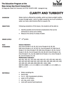 Clarity and Turbidity Lesson Plan